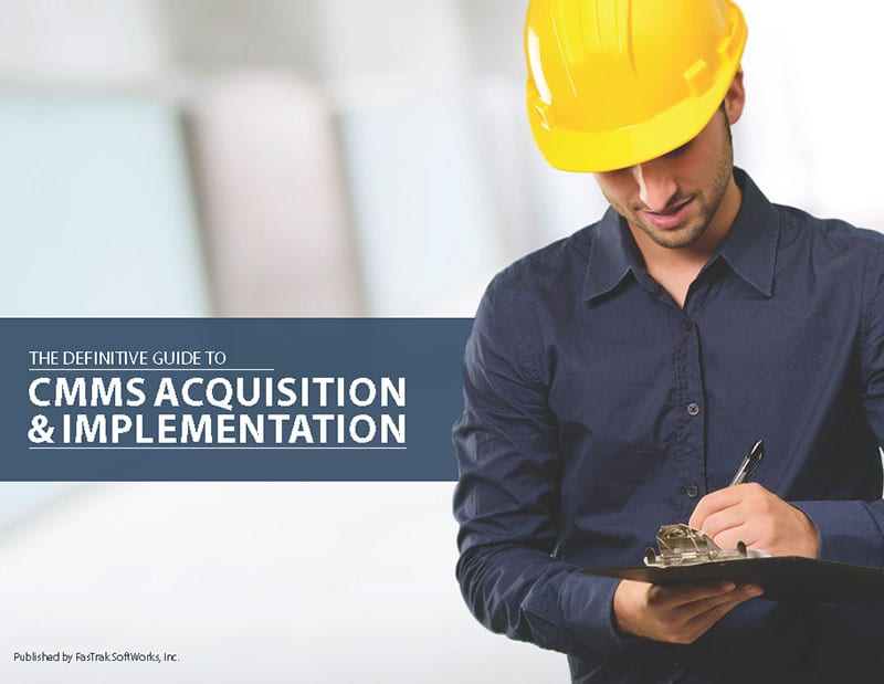 FTMaintenance CMMS brochure cover with guy holding clipboard