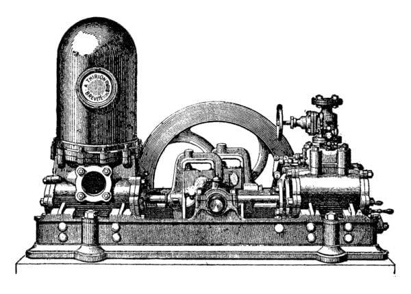 Artist depiction of a steam-powered pump