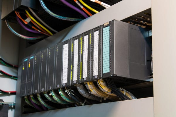 programmable logic conrtollers (PLC) in a rack