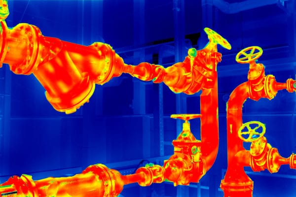 A thermographic image of a pipeline without thermal insulation, being monitoed by a condition-monitoring sensor as part of a predictive maintenance (PdM) program.
