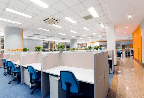Furniture assets in an office, including cubicles, desks, file cabinets, and office chairs.