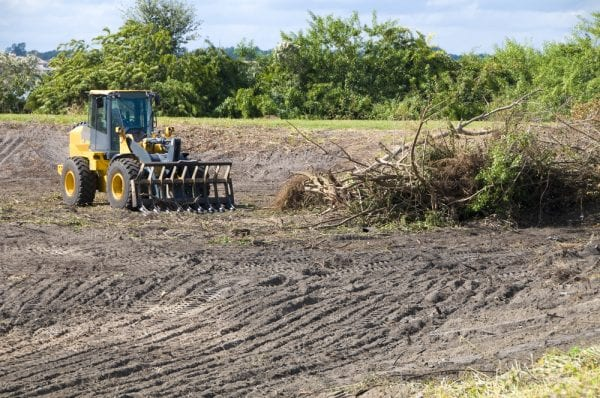Land, a type of asset, being cleared by a small construction vehicle.