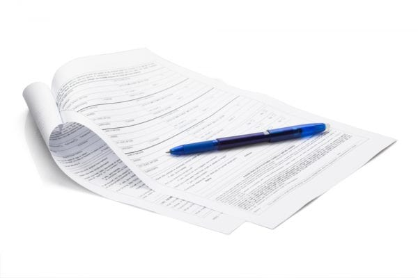 A pen and paper checklist used as part of a maintenance audit.