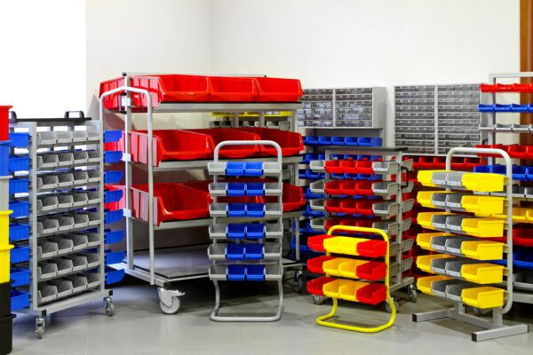 Racks, shelves, and bins in varying sizes and configurations showcasing the numerous varieties of maintenance storeroom inventory storage solutions.